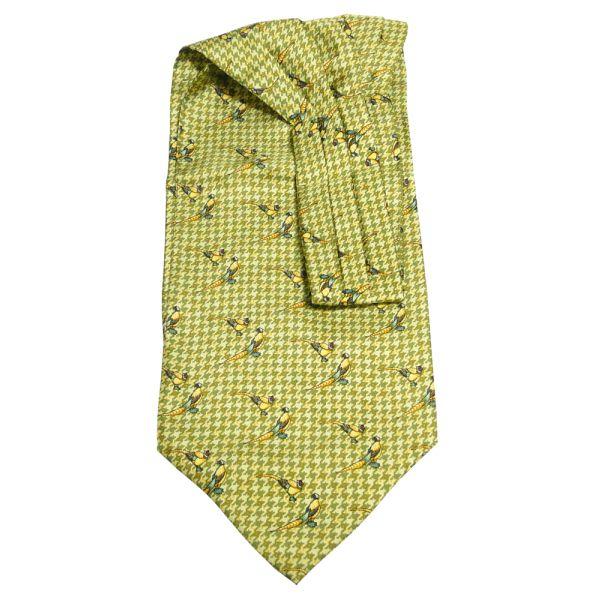 Olive Check Pheasant Silk Cravat