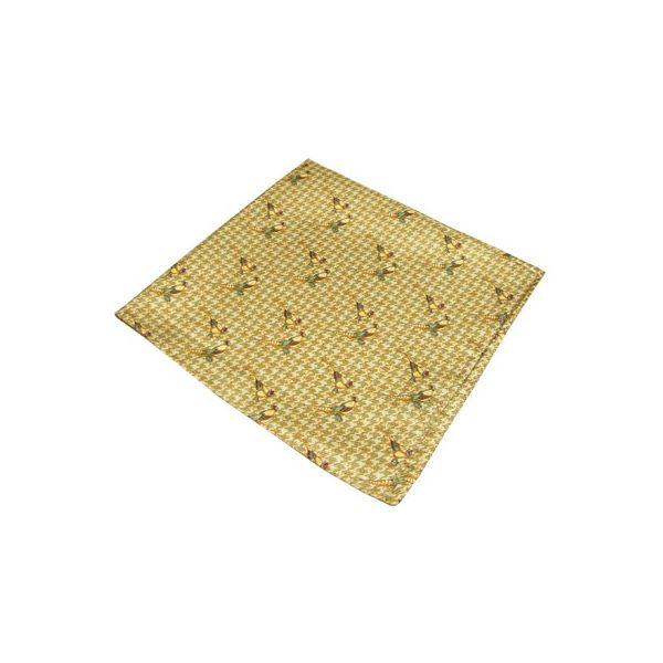 Olive Check Pheasant Silk Handkerchief
