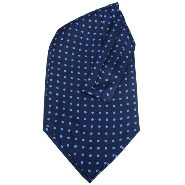 Blue Silk Cravat with Blue Spots by Soprano