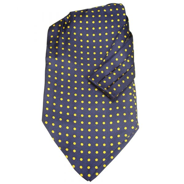 Blue Silk Cravat with Yellow Spots