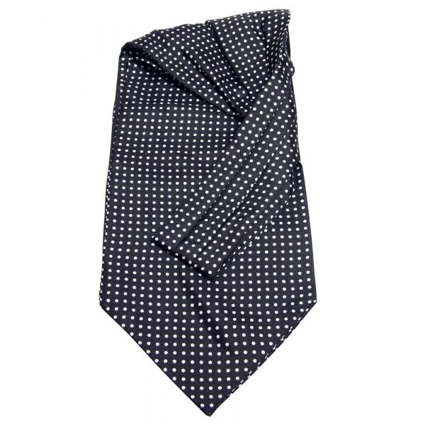 Black and White Polka Dot Silk Cravat