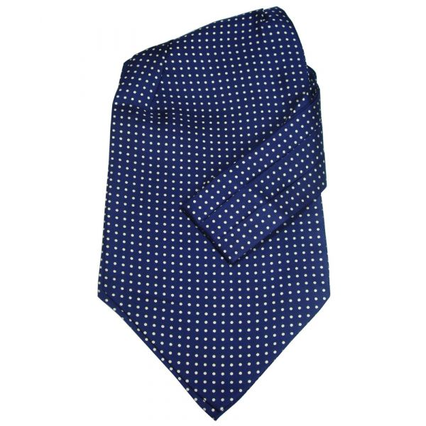 Navy with Yellow Polka Dots Silk Cravat