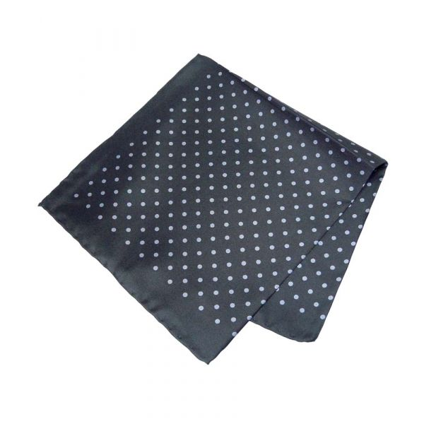Black with Grey Polka Dots Silk Handkerchief