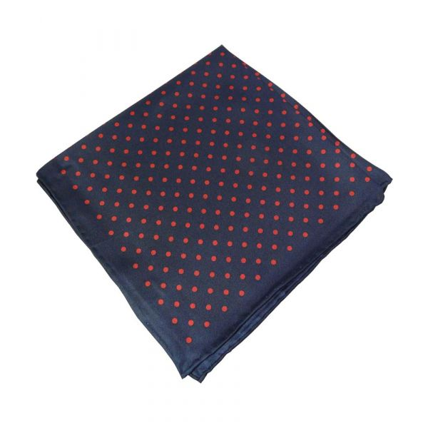 Blue Silk Handkerchief With Red Spots