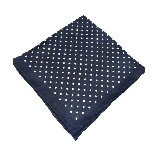 Navy Silk Handkerchief With White Spots