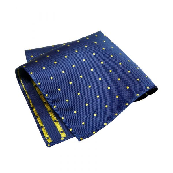 Navy Silk Handkerchief With Yellow Spots