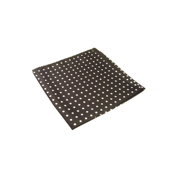 Black Silk Handkerchief With White Polka Dots