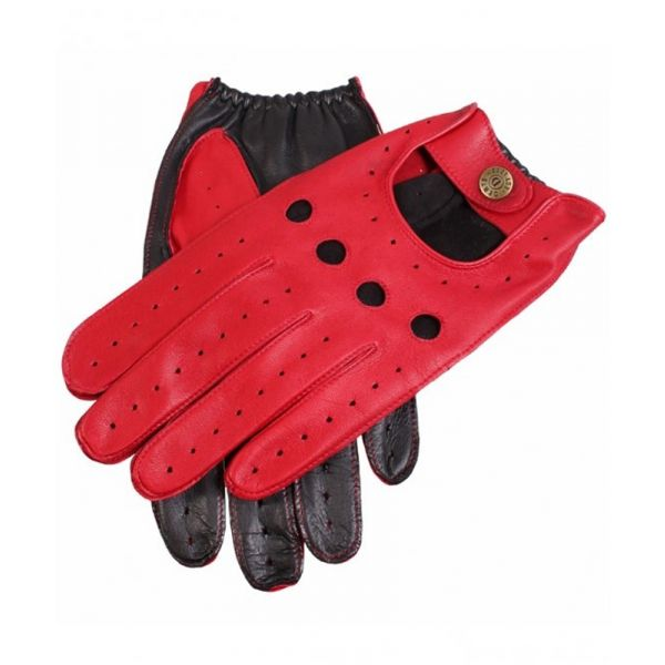 Dents Mens Leather Driving Gloves in Berry and Black