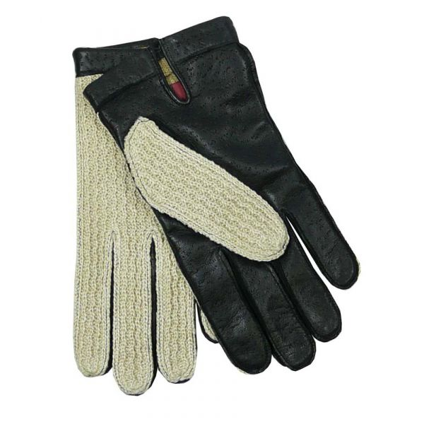 Black Crochet Backed Driving Gloves From Dents