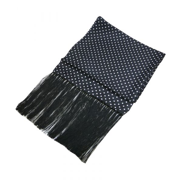 Black Silk Dress Scarf with White Spots