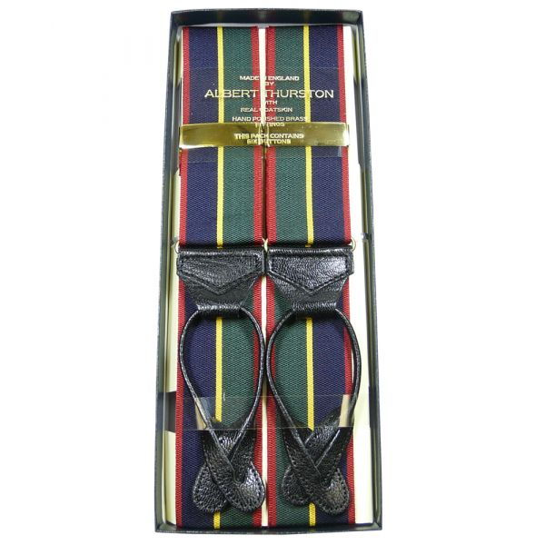 Albert Thurston red green gold stripe  button attach braces