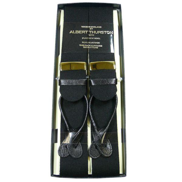 Albert Thurston black wool boxcloth button attach braces