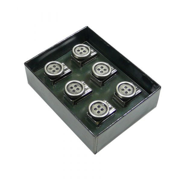 Set of six clip on buttons from Albert Thurston.