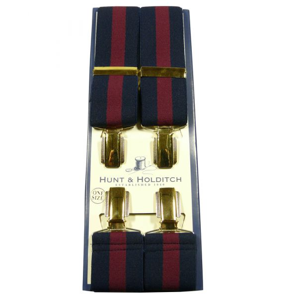 Navy and Wine Regimental Stripe Braces from Hunt & Holditch