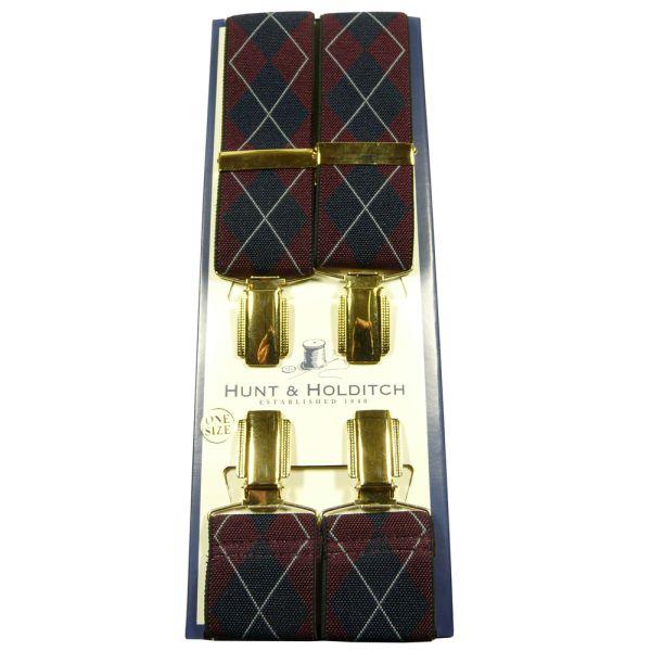 Burgundy Argyle Clip Braces from Hunt & Holditch