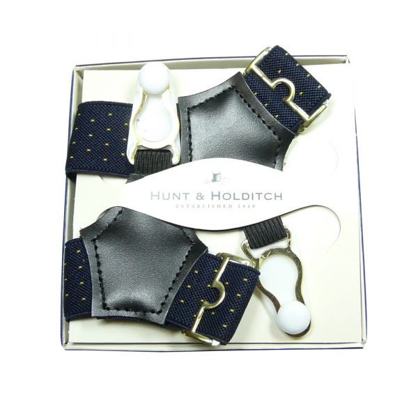 Navy Spot Sock Suspenders from Hunt & Holditch