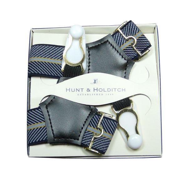 Navy Herringbone Sock Suspenders