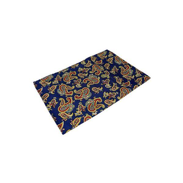 Navy Large Paisley Silk Handkerchief