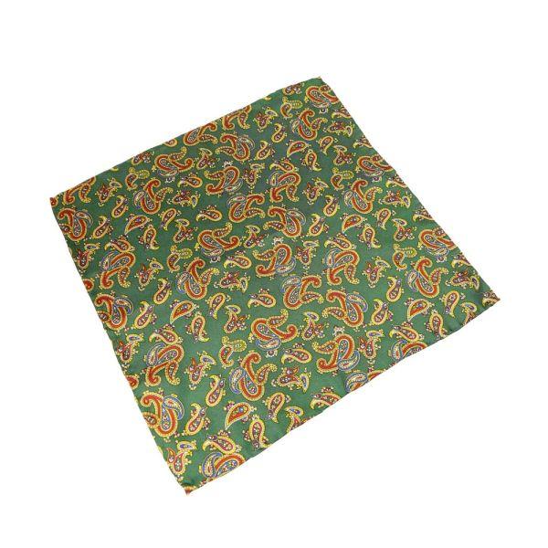 Green Large Paisley Silk Handkerchief