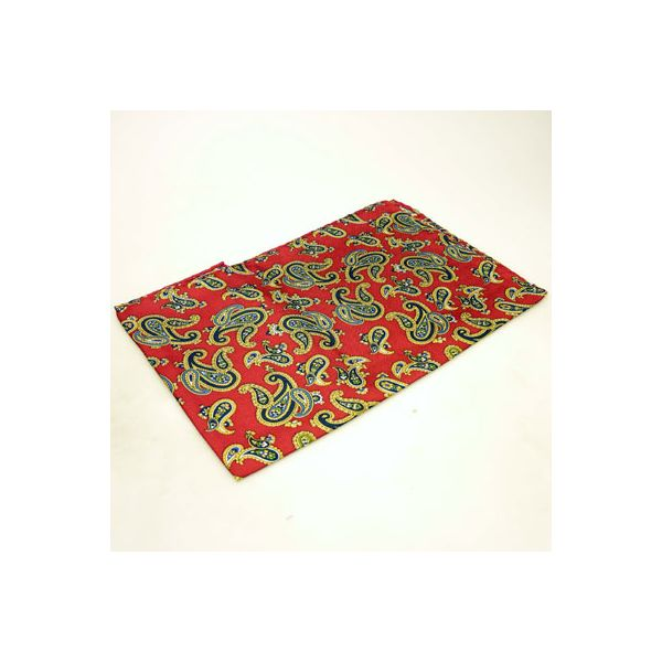 Red Large Paisley Silk Handkerchief