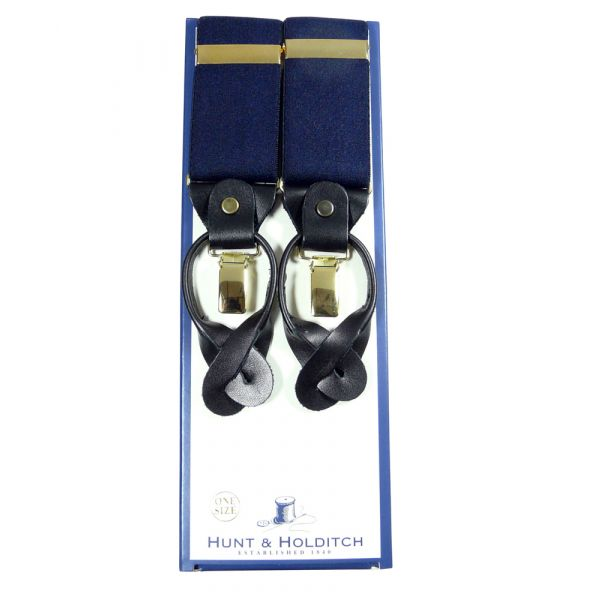 Navy Button and Clip Braces from Hunt and Holditch