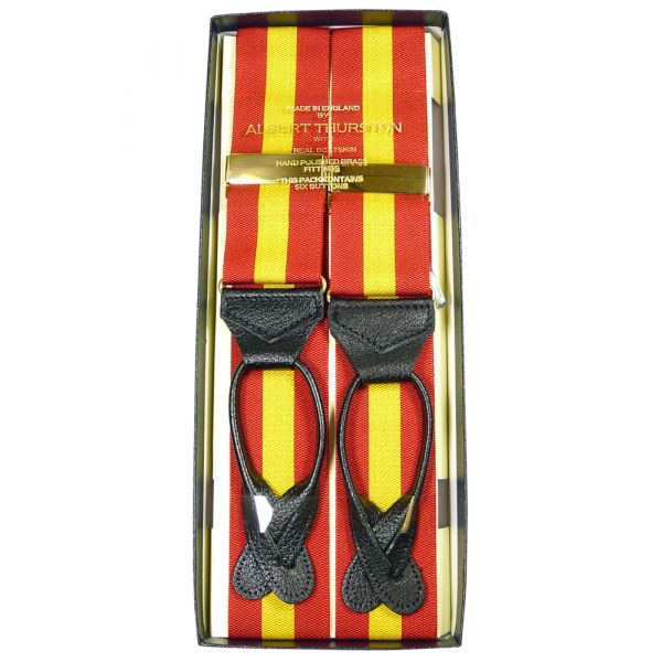 Alburt Thurston MCC colours Striped Leather End Braces