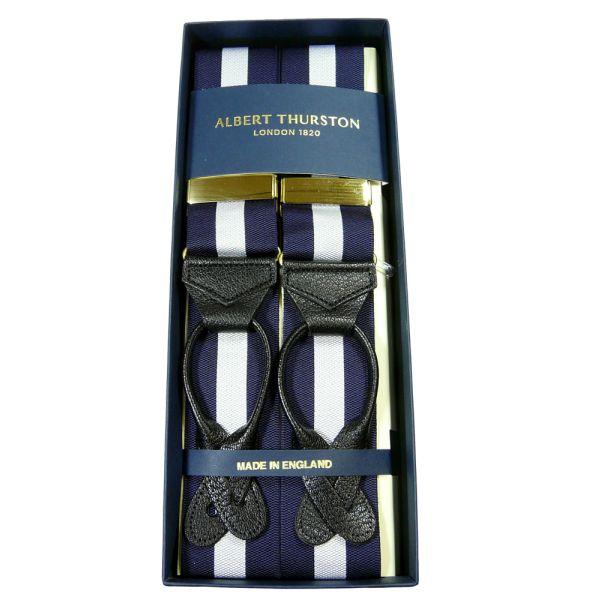 Albert Thurston White and Navy Regimental Stripe Braces