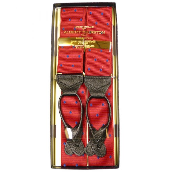 Alburt Thurston Leather End Braces in Red with Navy Spots