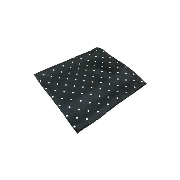 Black Wide Spotted Silk Handkerchief