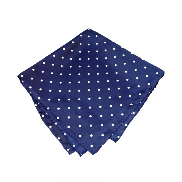 Navy Wide Spotted Silk Handkerchief
