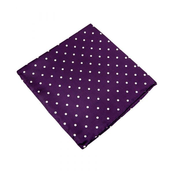 Plum Wide Spotted Silk Handkerchief