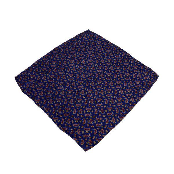 Navy Small Paisley Silk Handkerchief