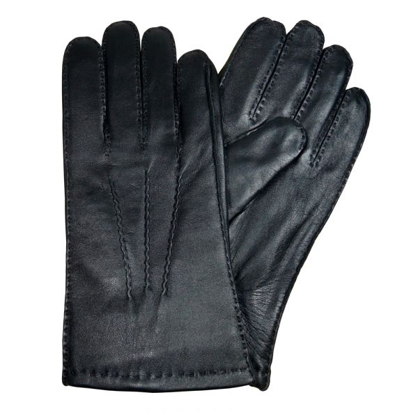 Black Leather Fur Lined Leather Gloves