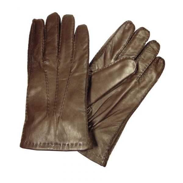 Brown Leather Faux Fur Lined Leather Gloves