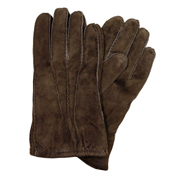 Brown Fur Lined Suede Gloves
