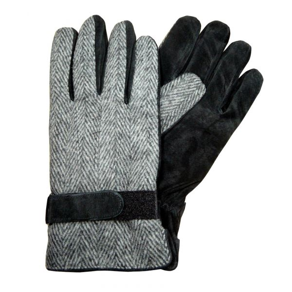 Grey Black Suede and Fabric Gloves