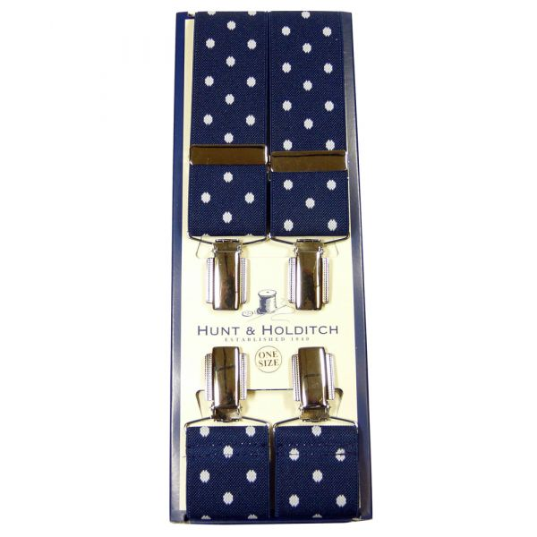 Navy Polka Dot Clip Braces from Hunt & Holditch