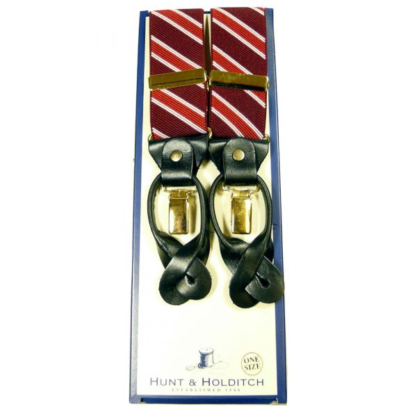 Red Diagonal Stripe Convertible Braces from Hunt & Holditch