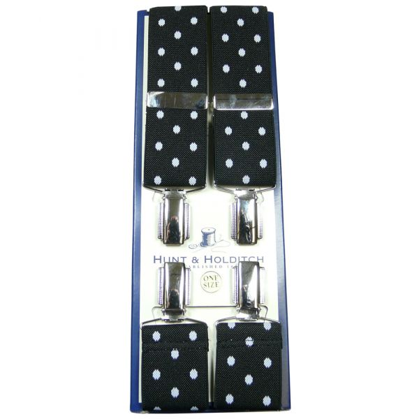 Black White Polka Dot Clip Braces from Hunt & Holditch