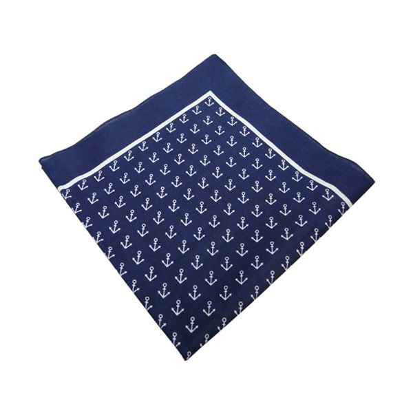Navy Anchor Cotton Bandana