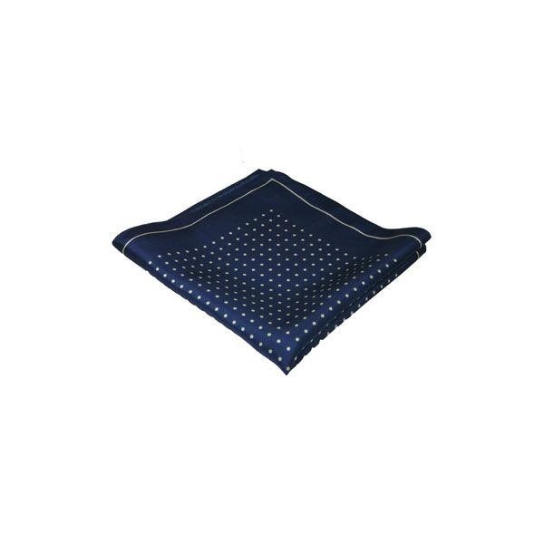 Navy with White Spots Silk Hankie