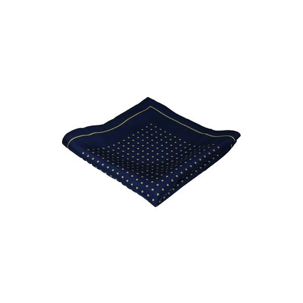 Navy with Yellow Spots Silk Hankie