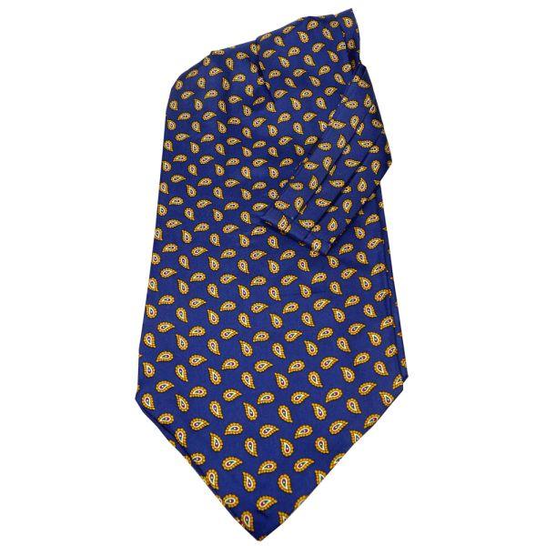 Navy Birdseye Paisley Silk Cravat