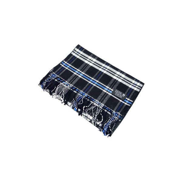 Black & Blue Check Brushed Silk Scarf