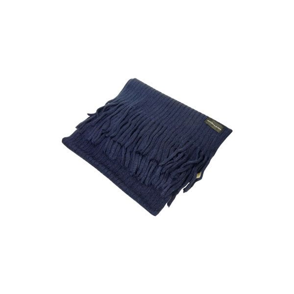 Navy Knitted Rib Acrylic Scarf
