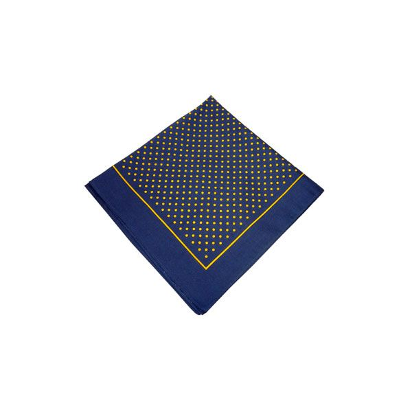 Navy Cotton Bandana with Small Gold Spots