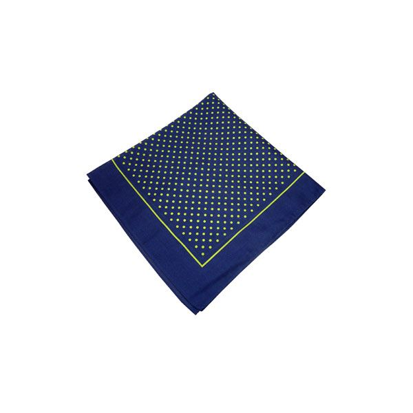 Navy Cotton Bandana with Small Green Spots