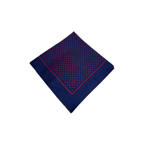 Navy Cotton Bandana with Small Red Spots