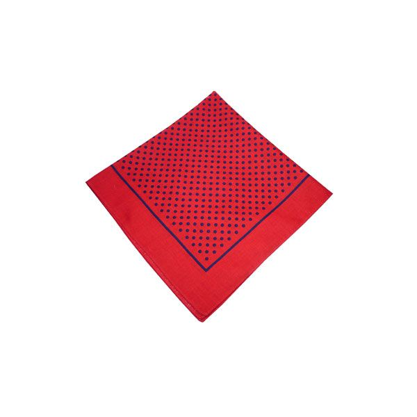 Red Cotton Bandana with Small Navy Spots