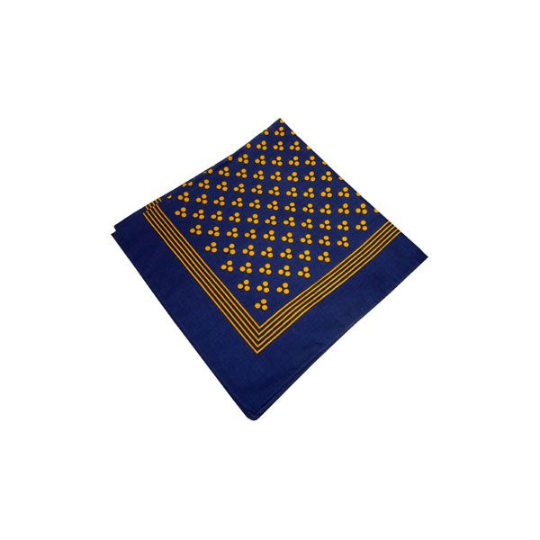 Navy Cotton Bandana with Triple Gold Spots